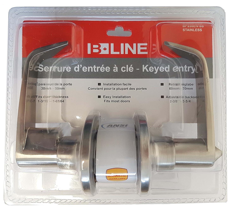 B-Line Lever Door Handle Satin Stainless Passage lo Lock