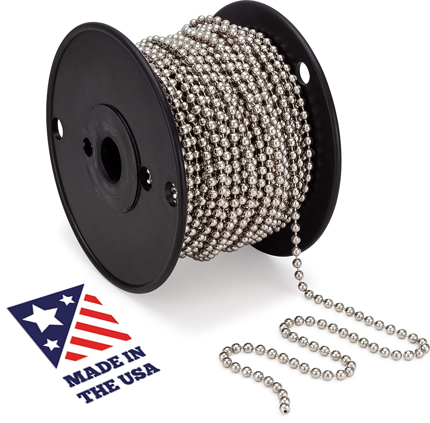 #10 Beaded Ball Chain – Nickel Plated Steel 100 Feet Spool for Vertical Window Blinds | Plumbing and Industrial Equipment Labeling | Commercial Retaining Applications 91ZcoyEwg9L