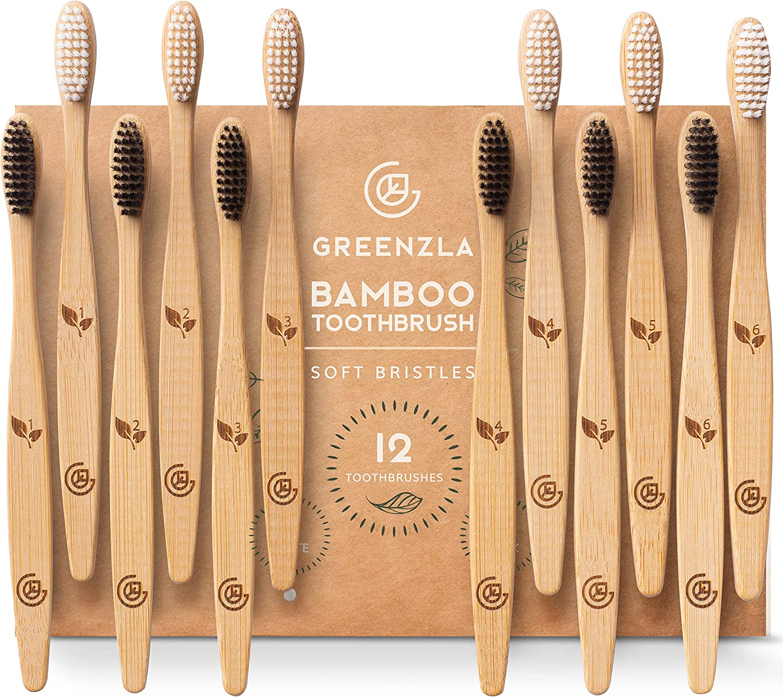 Greenzla Cepillos de Dientes de Bambú (Kit de 12)   Cepillos de Dientes de Carbón de Cerdas Suaves   Cepillo de Dientes de Bambú Natural y Ecológico   Madera Biodegradables y 100% Orgánicos