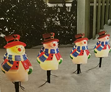 christmasdeiz 4 snowmen pathway markers christmas yard decorations