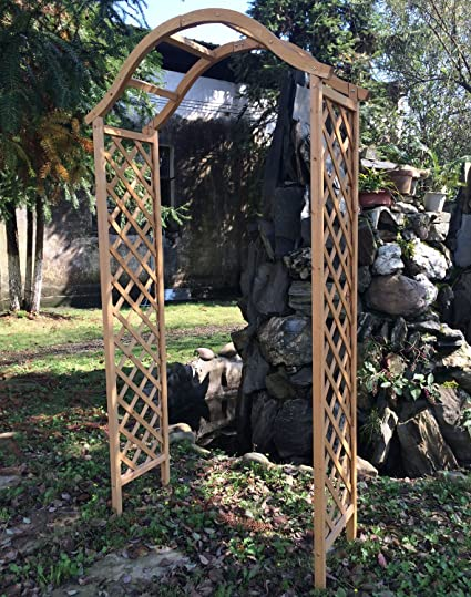 Woodside – Arco de Madera para jardín pérgola Planta Apoyo celosía Arco, Natural marrón Acabado, fácil de Montar: Amazon.es: Jardín