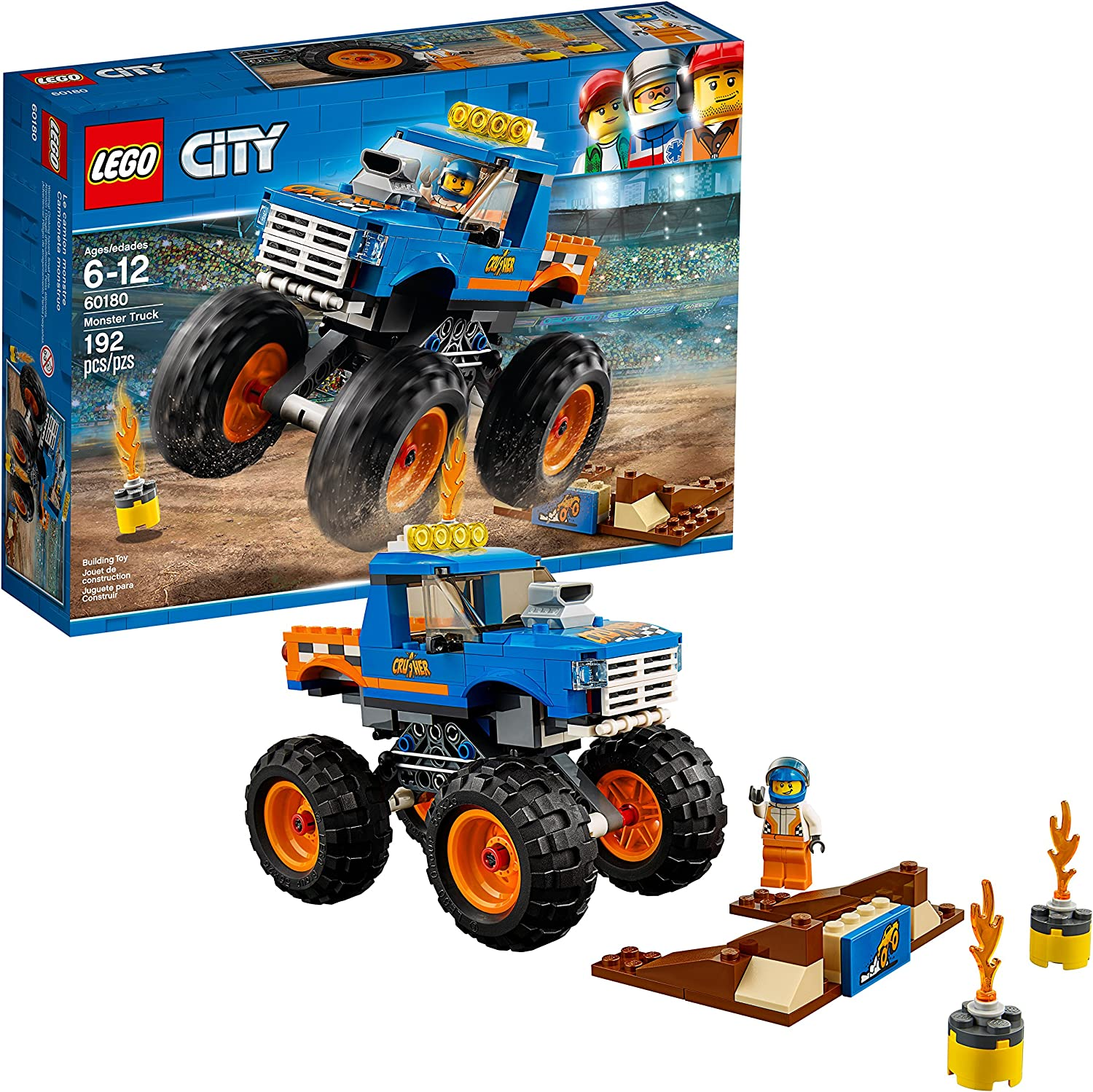 Amazon Com Lego City Monster Truck 60180 Building Kit 192 Pieces Discontinued By Manufacturer Toys Games