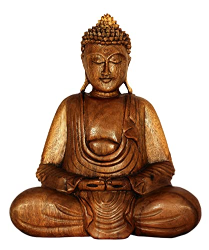 G6 Collection Wooden Serene Sitting Buddha Statue Handmade Meditating Sculpture Figurine Decorative Accent Handcrafted Art Traditional Modern Contemporary Oriental Decor Hands in Lap Buddha 8 Tall
