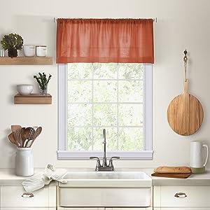 "Elrene Home Fashions 26865775457 Solid Hemstitched Rod Pocket Valance Kitchen/Café Window Curtain, 60"" x 15"", Spice, 60"" W x 15"" L (1"