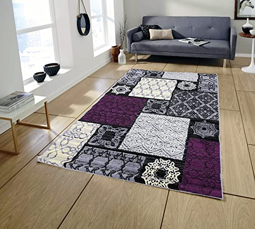 Area Rugs Pyramid Home Decor, Grey Violet Design for Bed Room and Living Room Light Grey, Red, Area Rugs for Living Room, Area Rugs for Bedroom, 5×7 Area Rugs