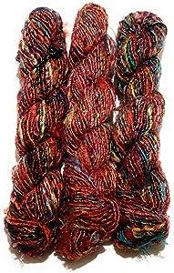 Recycled Chunky Banana Silk Yarn for Knitting, Weaving and Crochet/Thick Yarn 100gm (Multicolor PK)