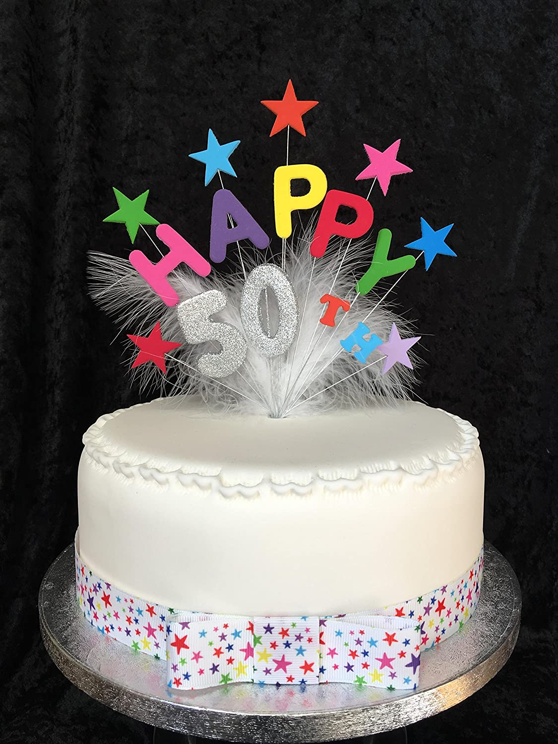 Outstanding Happy 50Th Birthday Cake Topper Multicoloured Stars Silver Personalised Birthday Cards Sponlily Jamesorg