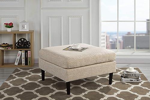 Casa Andrea Milano Modern Living Room Accent Linen Fabric Ottoman Beige