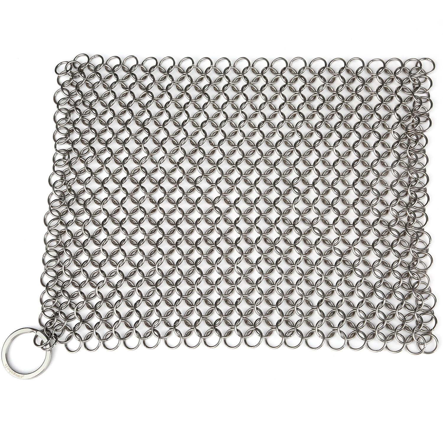 AMAGABELI GARDEN & HOME 8''x6'' Stainless Steel Cast Iron Cleaner 316L Chainmail Scrubber for Cast Iron Pan Pre-Seasoned Pan Dutch Ovens Waffle Iron Pans Scraper Cast Iron Grill Skillet Scraper by AMAGABELI GARDEN & HOME (Image #2)
