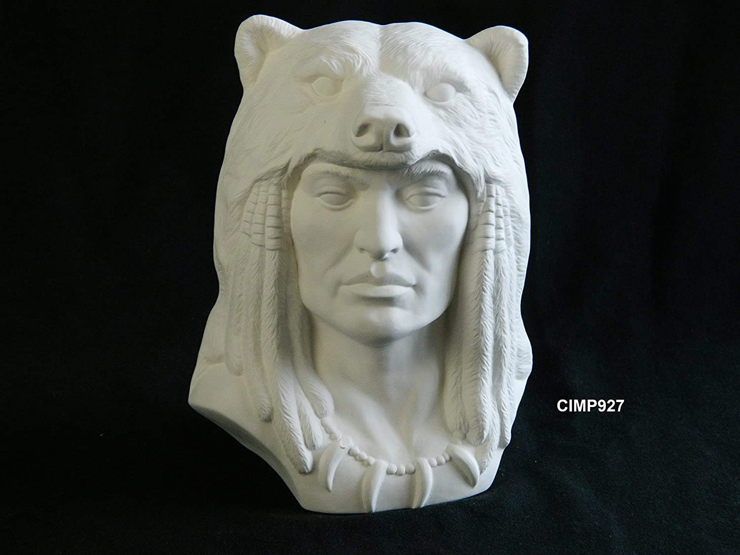 Provincial Grizzly Spirit Native American Warrior in Bear Headdress Ready to Paint (U-Paint) Ceramic Bisque - Hand Poured in the USA Ceramics In Montana P-927