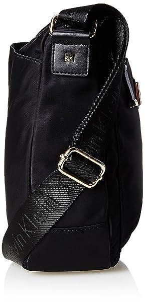 Amazon.com  Calvin Klein Belfast Nylon Top Zip Messenger Crossbody,  Black Gold  Clothing 96af8326b7