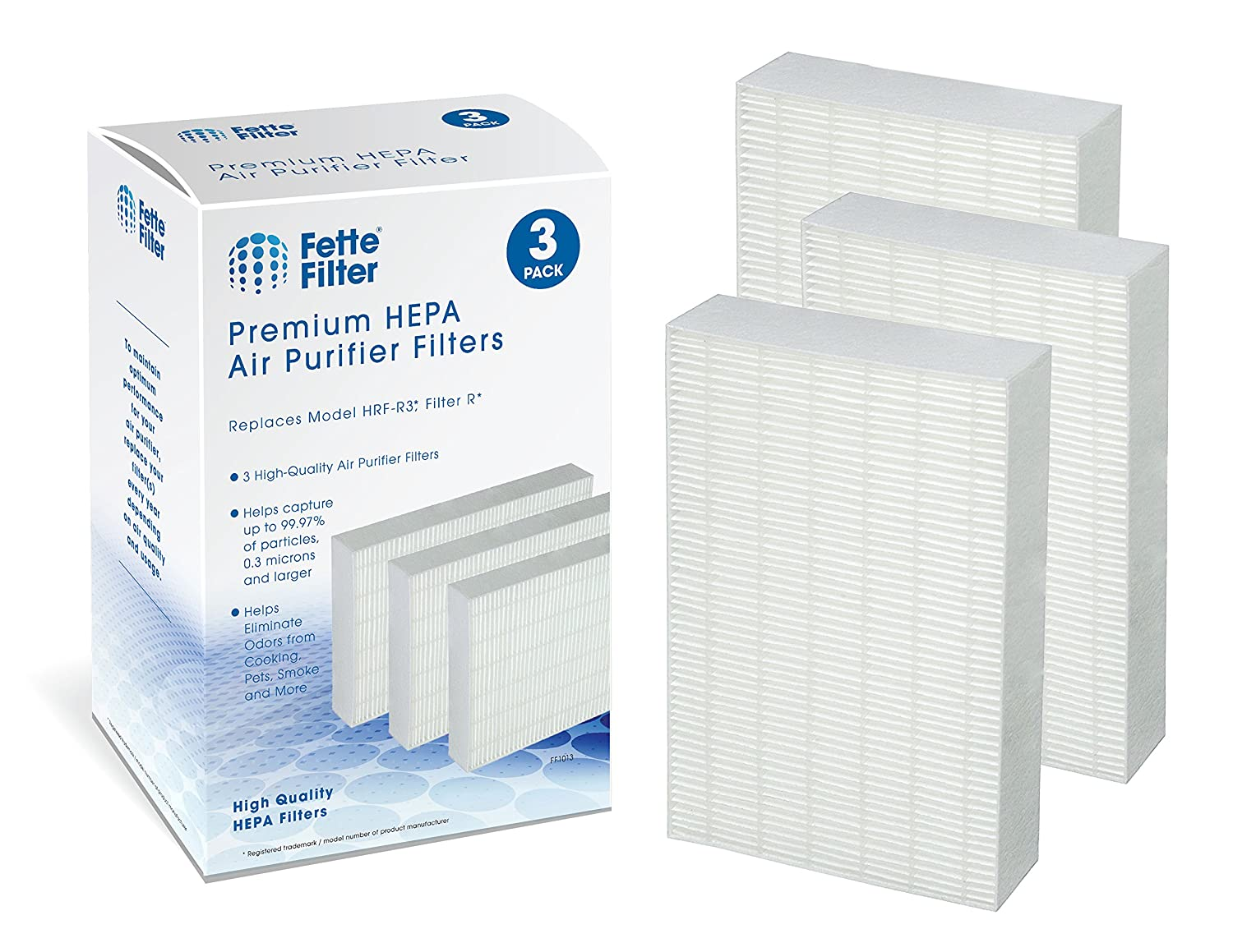Fette Filter - Air Purifier Filters Compatible with Honeywell HRF-R1, HRF-R2, HRF-R3, Filter R (3-Pack)