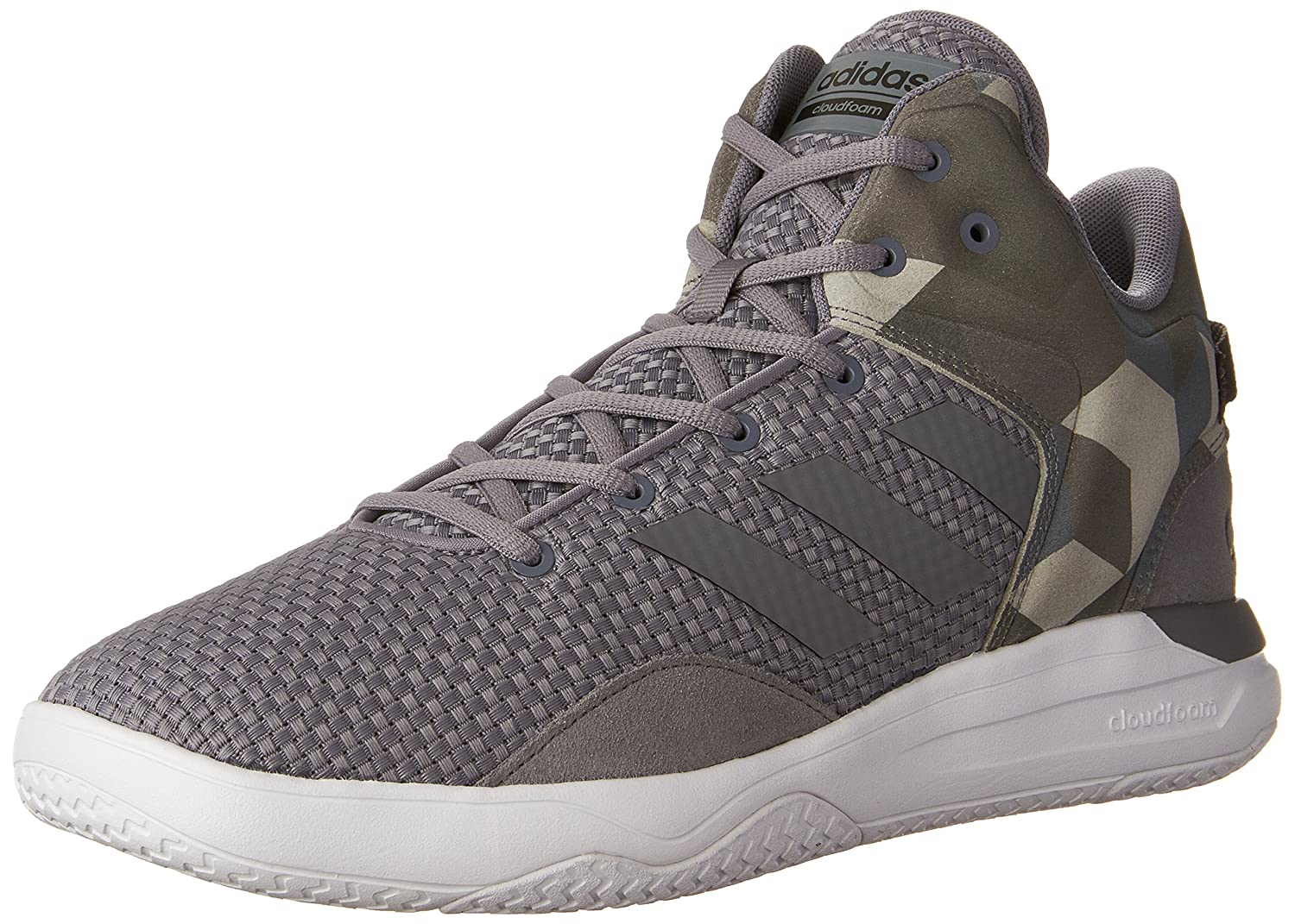 d06eebf7a Adidas Neo Mens Cloudfoam Revival Mid Basketball Shoes Grey Tech Grey Black  credibility first