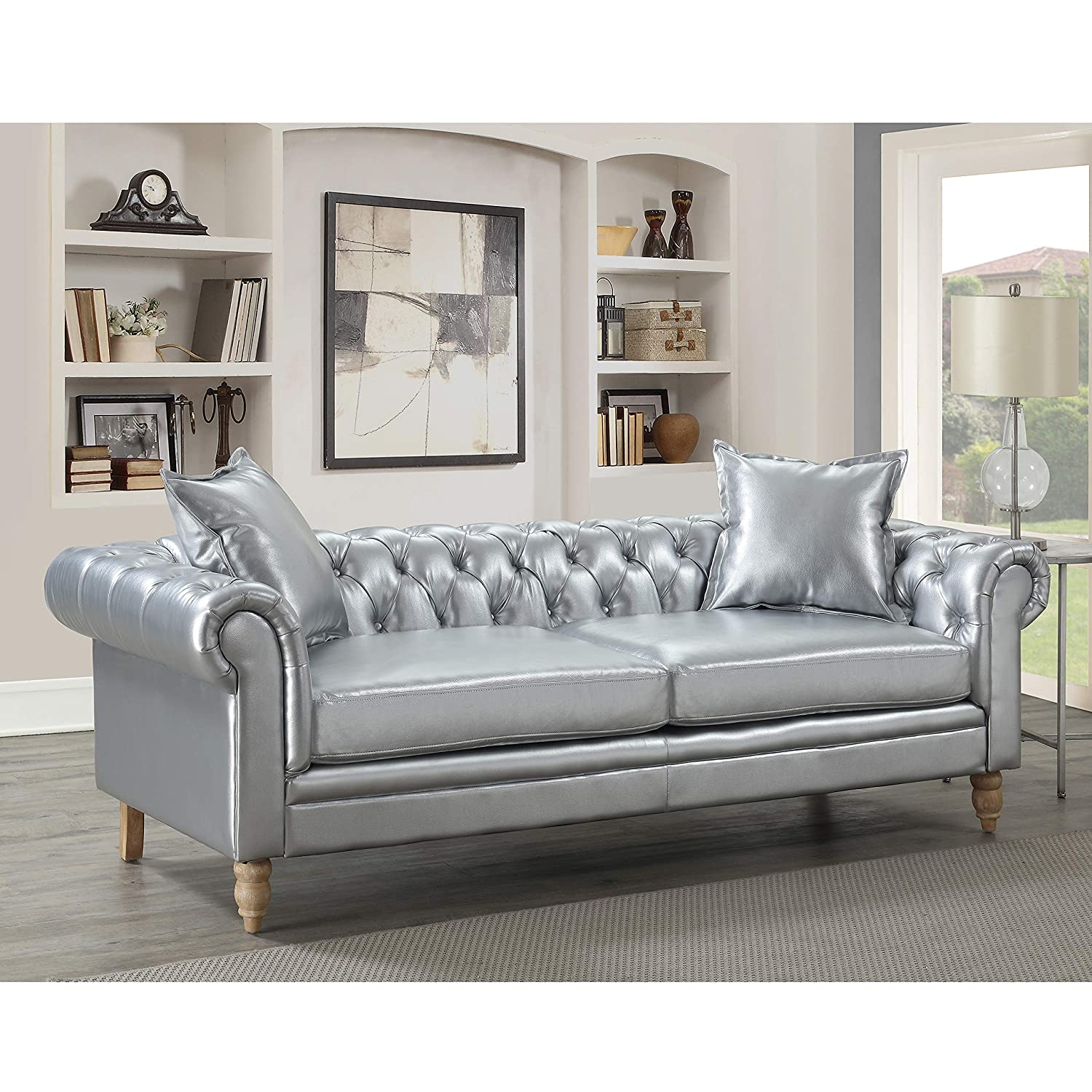 Christies Home Living Juliet Collection Contemporary Living Room  Chesterfield Sofa Linen Fabric Upholstered Button Tufted Silver