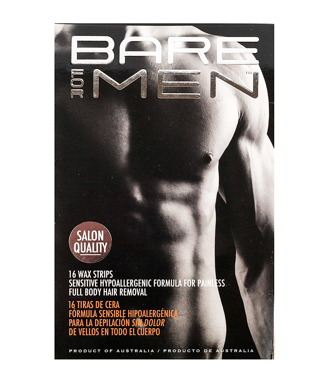 Bare For Men Wax Strips with Sensitive Hypoallergenic Formula, 16 Strips, 3-pack (48 Strips Total) Hot Legs Products