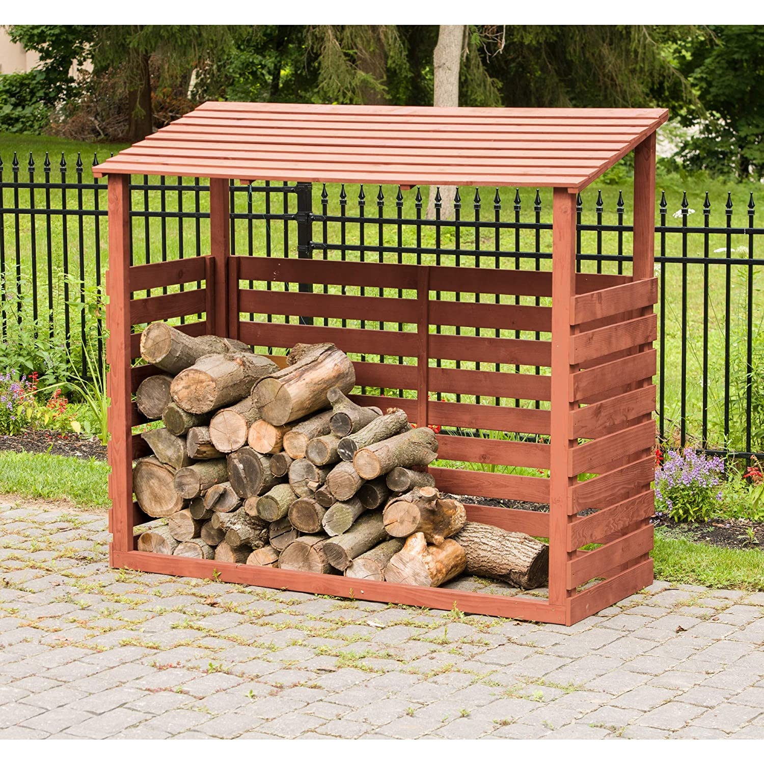 House and Patio Decor Cabin and Container Box Logs Wood Brown Deck Large Log Holder Shelf Rustic Yard Covered Outdoor Storage for Lumber Stack Leisure Season FS6828 Firewood Shed Cover