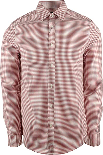 Michael Kors Mens Gingham Trim Stretch Long Sleeve Shirt-S-S ...