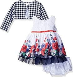 ae538487faa Sweet Heart Rose Baby Girls  3 Pc Set Chiffon Floral Print Dress with  Diaper Cover