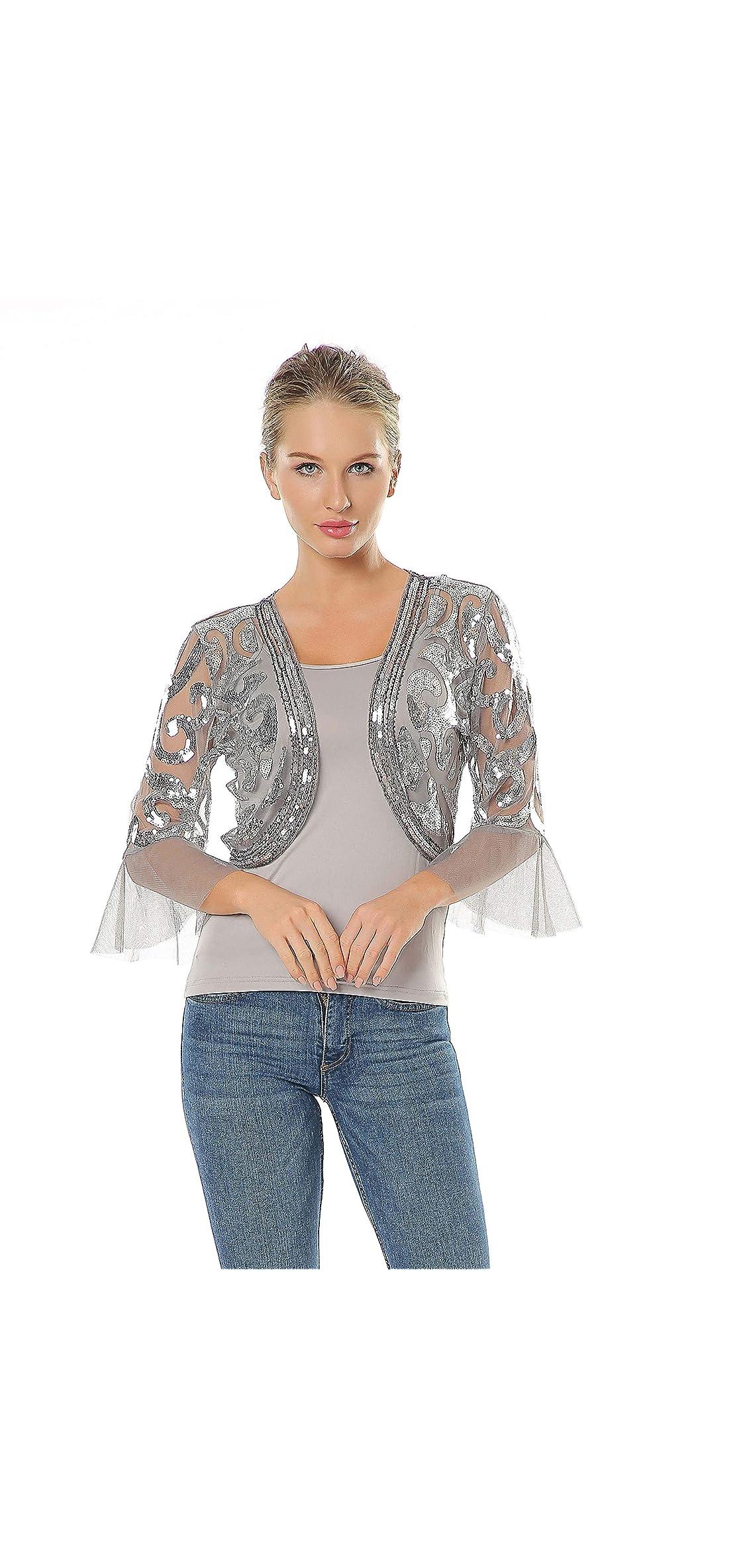 Women's Sequin Shrug Bolero Glitter Open Front /