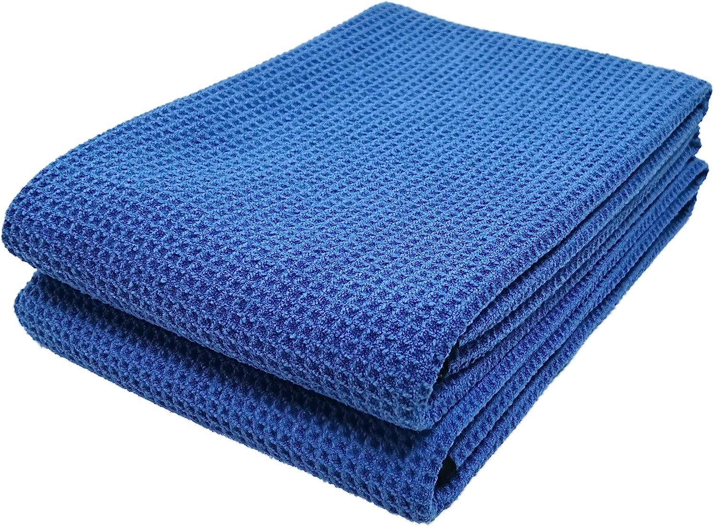 25x36, 2 Pack, Waffle, Blue Polyte Elite Microfiber Drying Towel