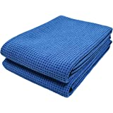Polyte Elite Microfiber Drying Towel (25x36, 2 Pack, Waffle, Blue)