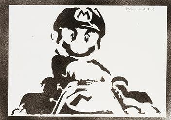 Super Mario Poster Handmade Graffiti Street Art - Artwork