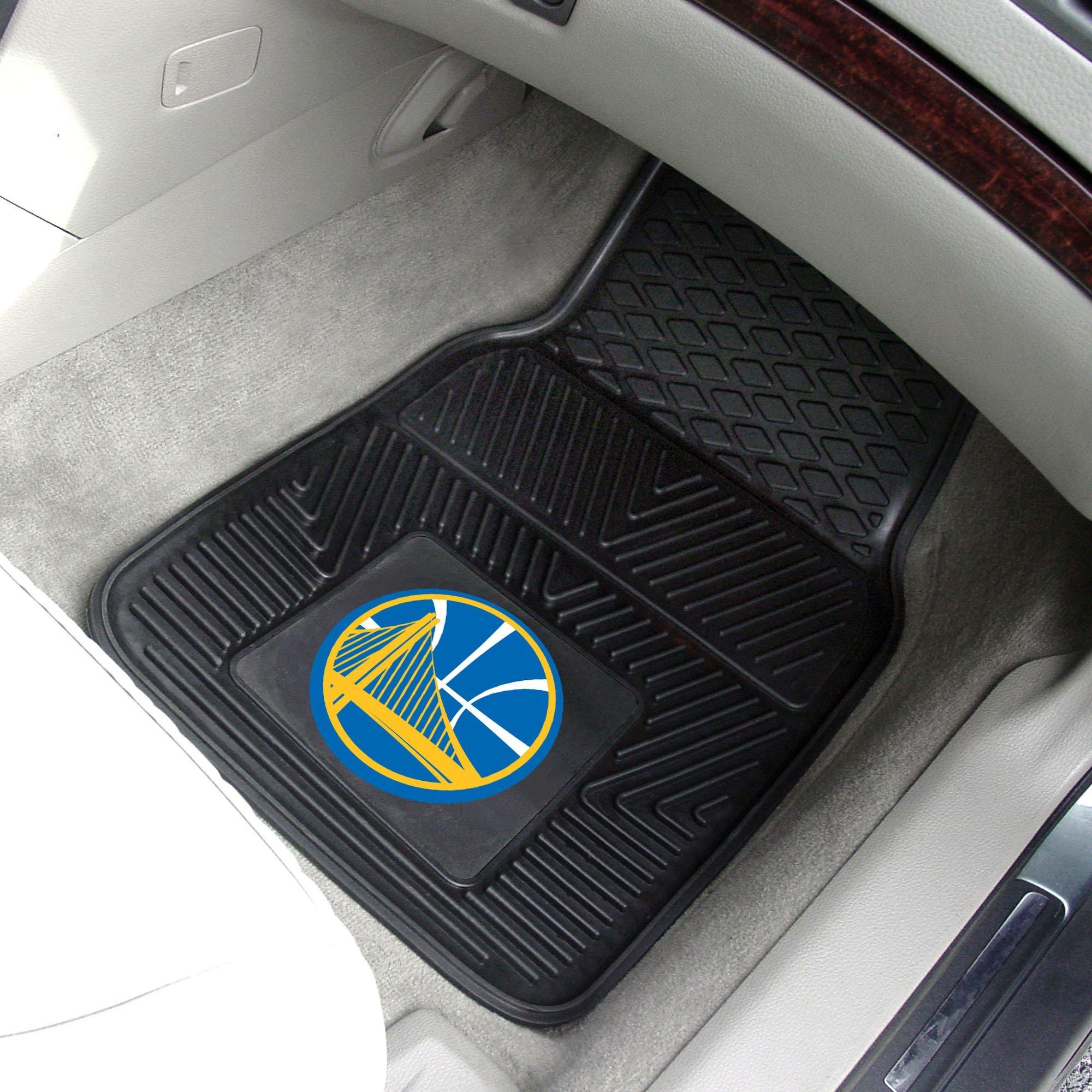 Golden State Warriors NBA 2 PC Vinyl Sports Team Logo Car Truck SUV Front Floor Mat 18''x 27'' Black