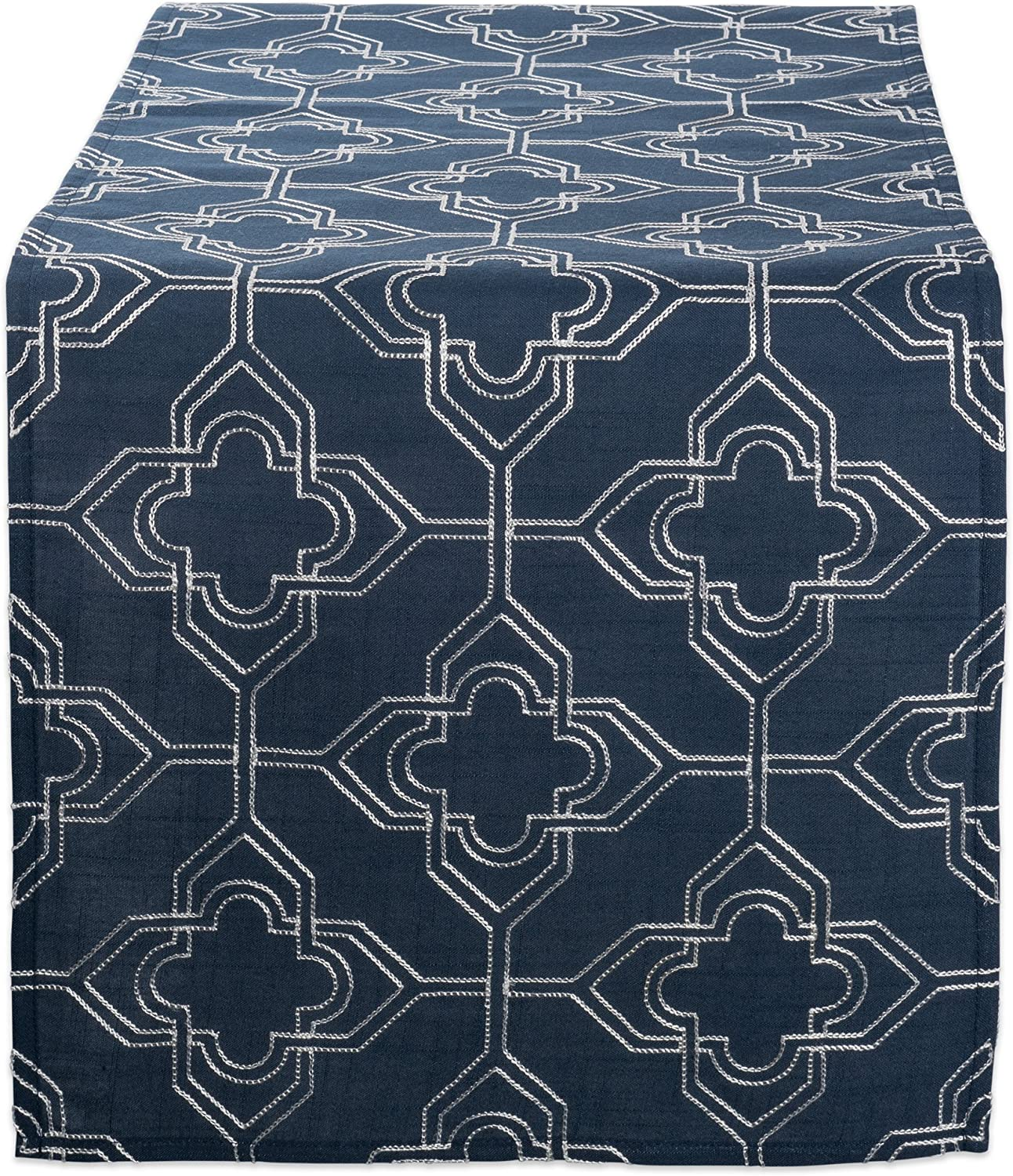 """DII Polyester Embroidered Table Runner for Spring Garden Party, Summer BBQ, Baby Showers and Everyday Use - 14x70"""", Lattice on Navy Base"""