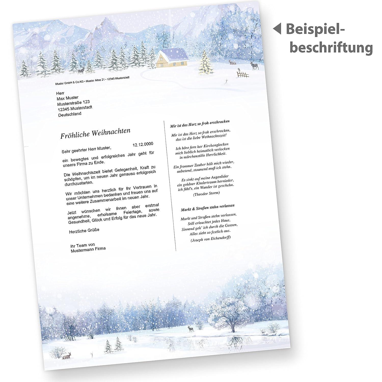 Briefpapier Wei/ße Weihnacht 50 Blatt Weihnachtsbriefpapier bedruckt mit Winterlandschaft