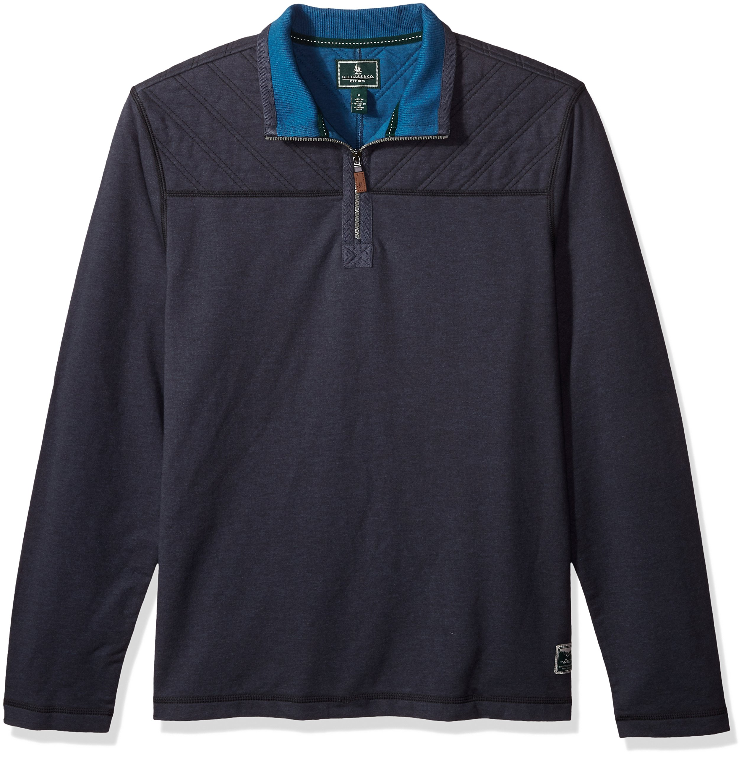 G.H. Bass & Co. Men's Quilted 1/2 Zip Fleece, Blue Nights Heather, Large