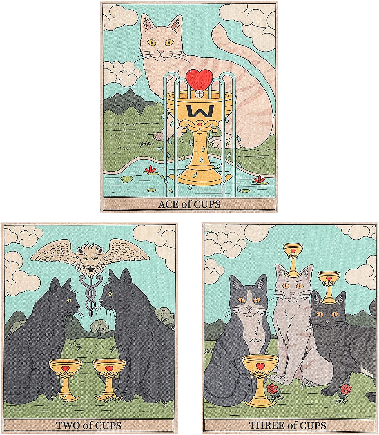 AWAYTR 3Pcs Small Tarot Tapestry - Cat Tapestry Wall Hanging for Livingroom Dorm Apartment Bedroom Office Decor(Cups Tapestry,12x16in)