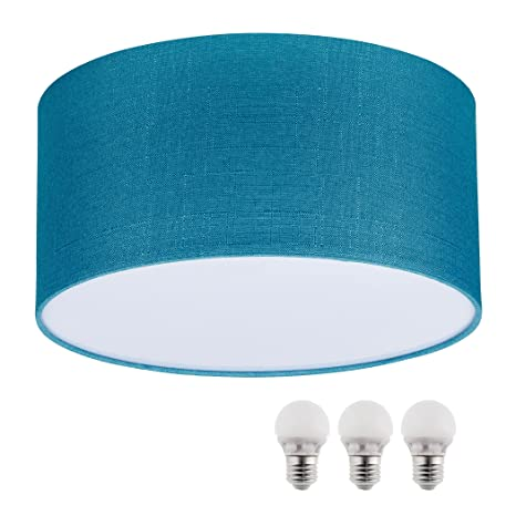SEBSON® Lampara techo tela, turquesa, incl. 3x E27 bombilla 5W LED, Equivale de 35W, Calido Blanca, 400lm , luz techo led ø400 x 200mm