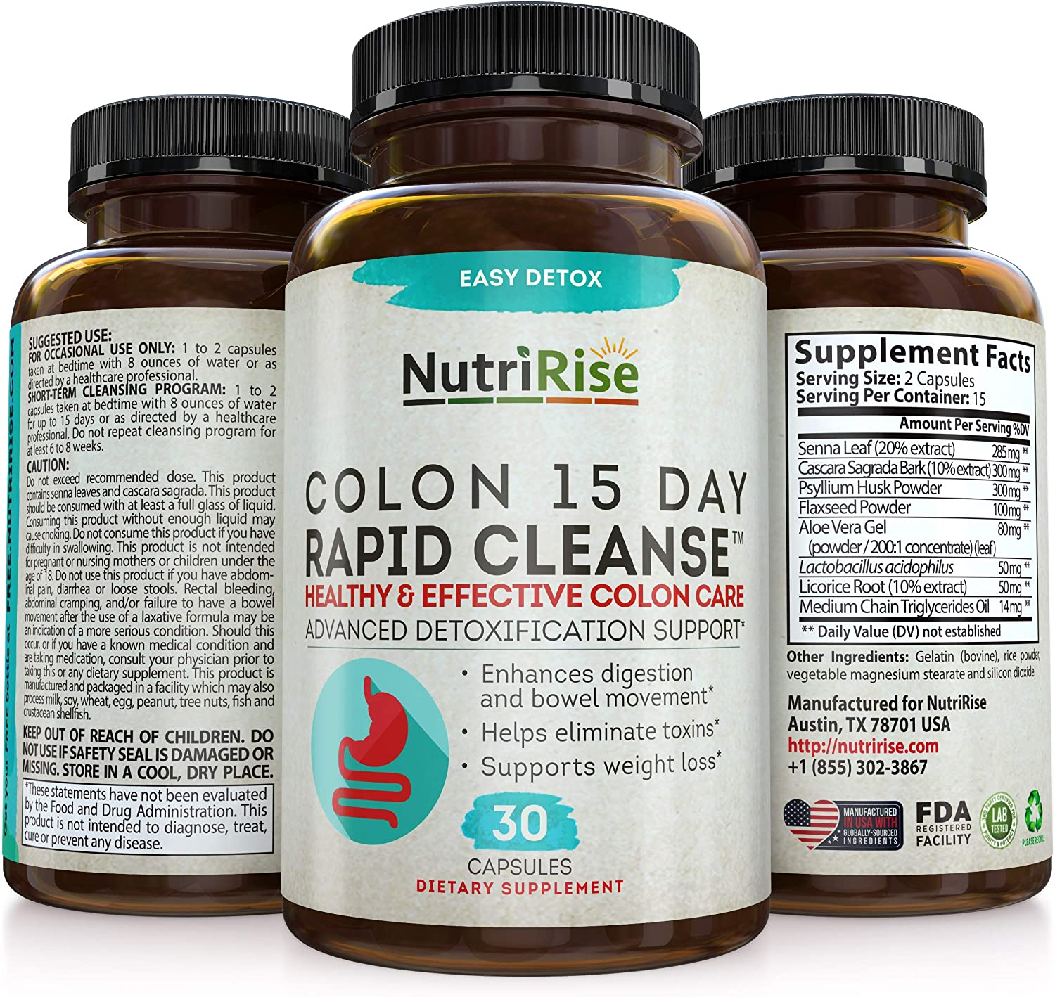 Colon Cleanser Detox for Weight Loss. 15 Day Fast-Acting Extra-Strength Cleanse with Probiotic & Natural Laxatives for Constipation Relief