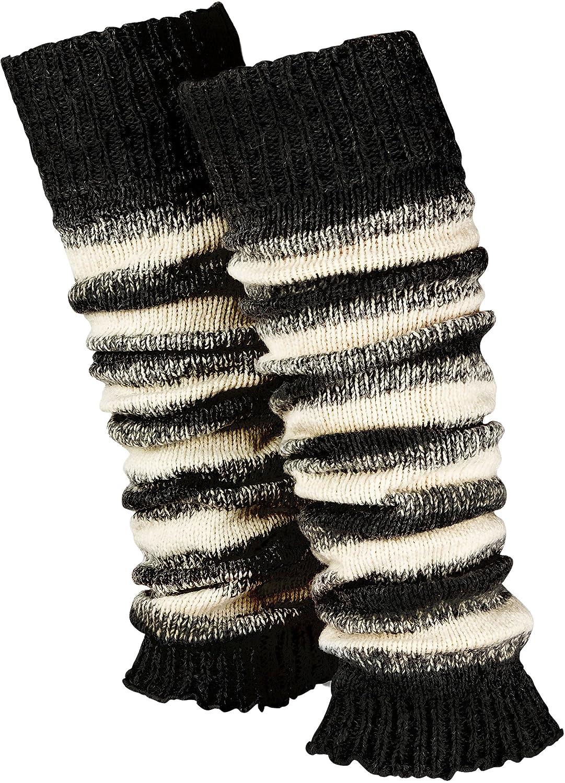 1 Paar geringelte Stulpen Damen   warme Bein-Stulpen in Strick   Wolle in Grau-Weiß Schwarz-Weiß One-Size von Piarini
