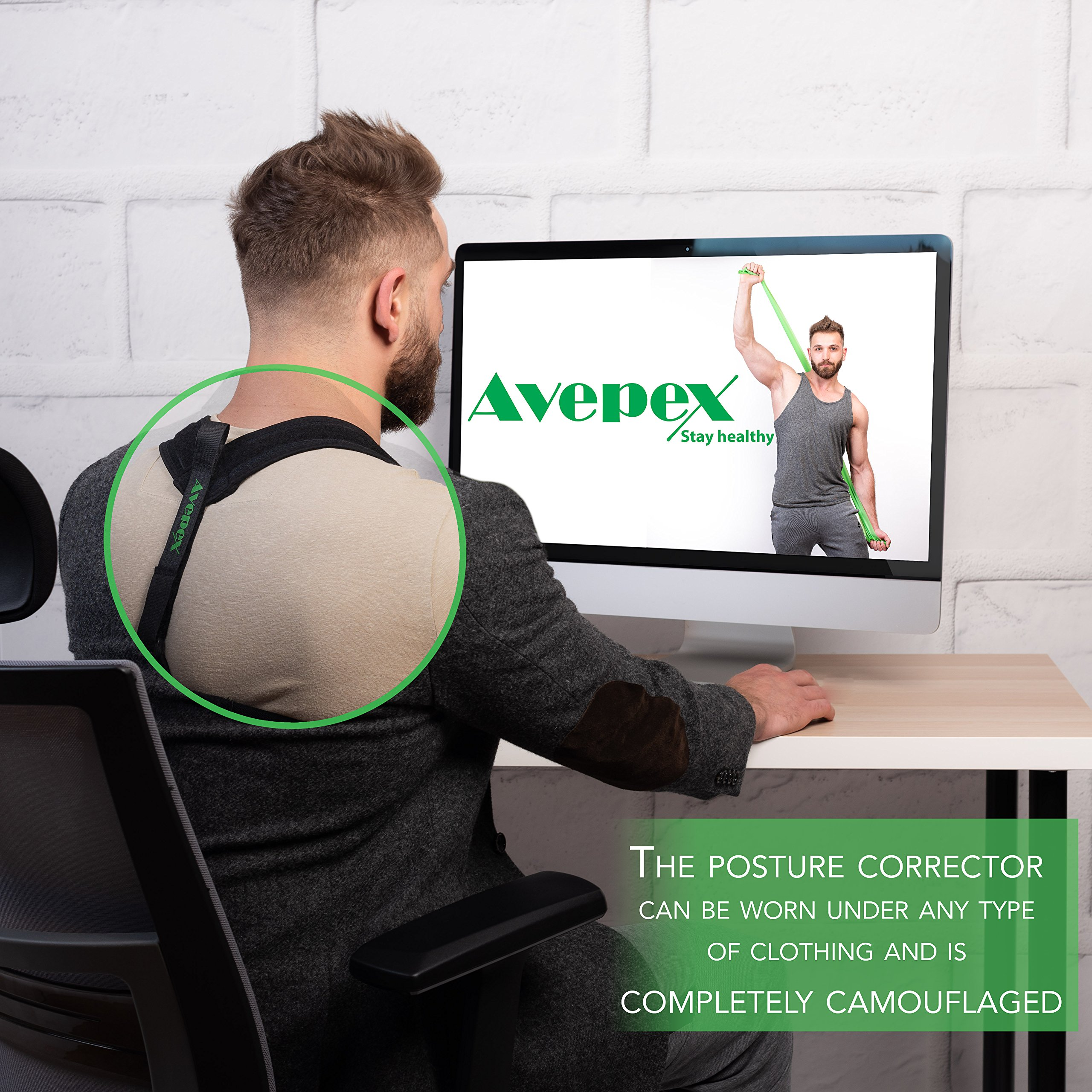 Avepex Posture Corrector Back Clavicle Brace with A Resistant Band | Breathable, Adjustable Fasteners, Discreet Fit | Relieve Shoulder Pains, Minimize Slouching, Realign Your Spine by avepex