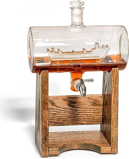 LST licor decantador – Scotch Whisky decantador – 1150 ml dispensador de alcohol – Vodka, Bourbon, Ron, vino, whisky, Tequila o incluso enjuague bucal ...