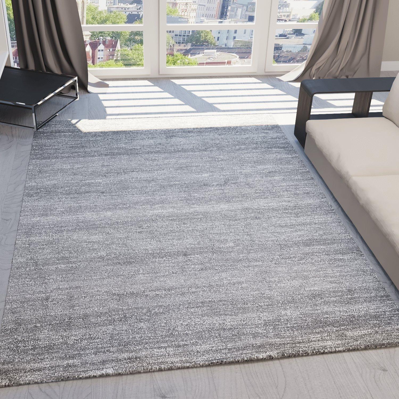 Teppich Kurzflor Wohnzimmer Meliert Mehrfarbig Beige Braun Türkis