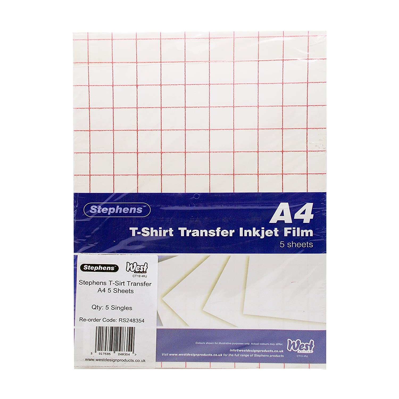 Stephens 248354 Inyección de tinta - papel fotográfico de transferencia para camisetas (Pack de 5 hojas): Amazon.es: Oficina y papelería