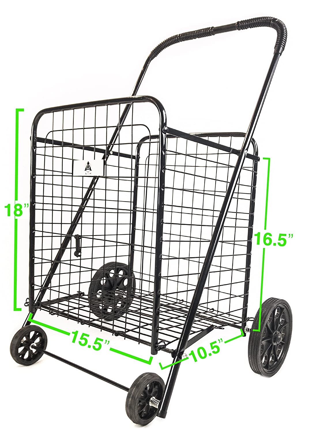 Toys Blue Groceries Stowable Folding Heavy Duty Cart with Metal Frame Wheels For Haul Laundry Sports Equipment ATH Small Deluxe Rolling Utility//Shopping Cart