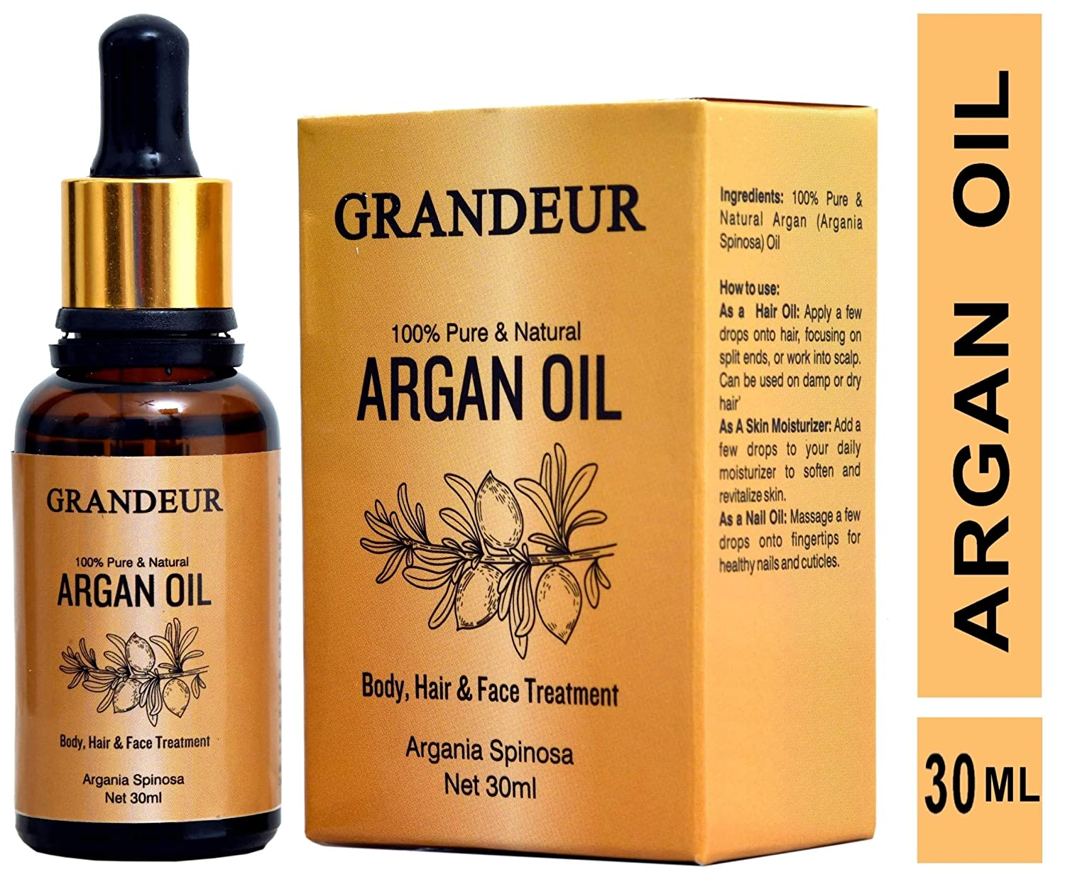 Grandeur 100% Pure & Natural Moroccan Argan Oil 30ml, for