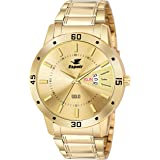 Espoir Analogue Gold Plated 18K Day and Date Golden Dial Men's Watch- Latest Gold 0507