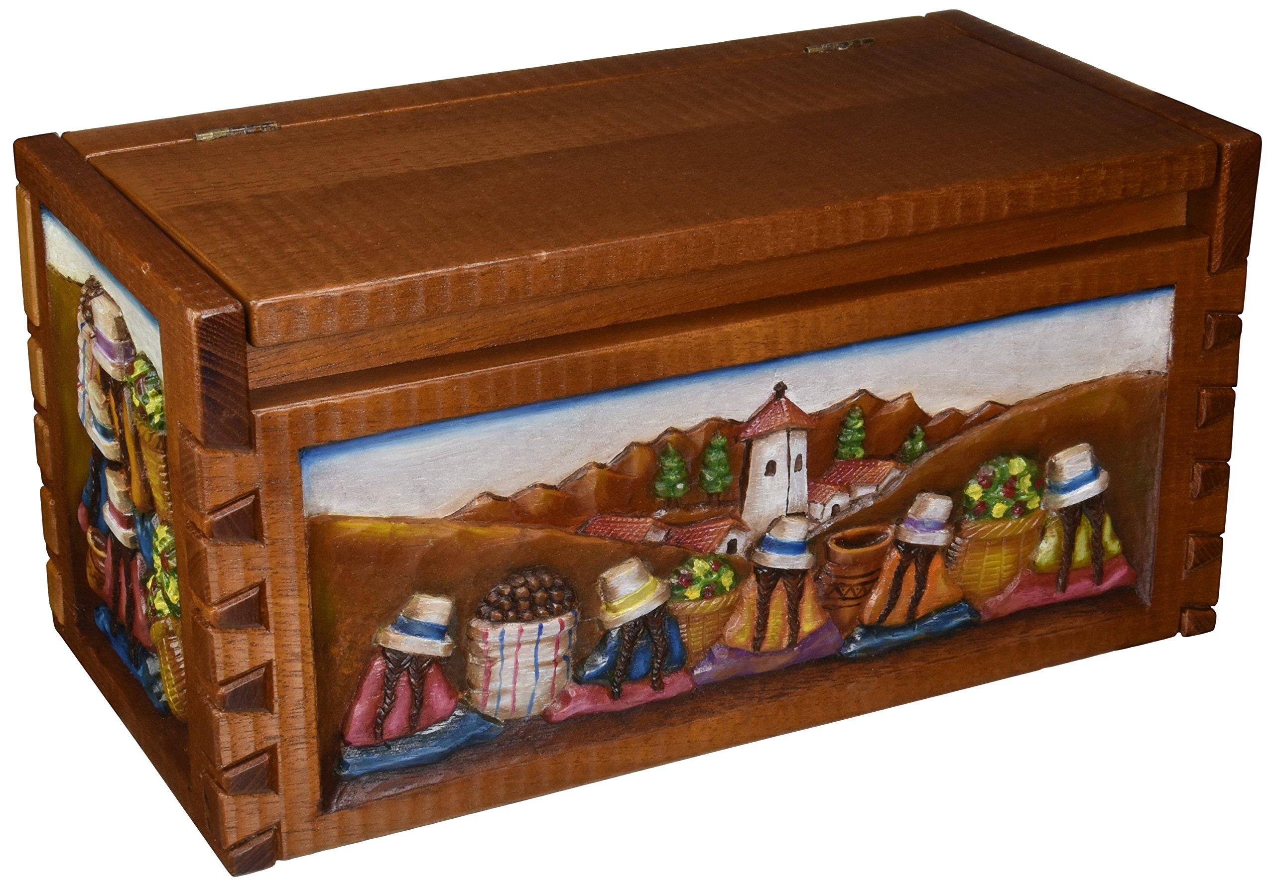 NOVICA ''Andean Village'' Cedar Chest Box