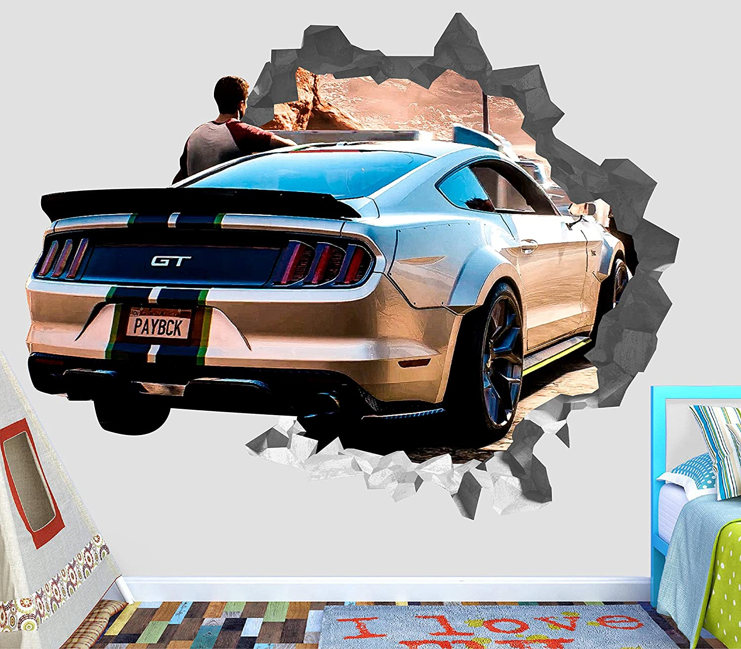 Amazon com ford gt shelby wall decal smashed 3d sticker vinyl decor mural sports car broken wall 3d designs op367 large wide 40 x 36 height