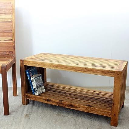Amazon.com: Haussmann Handmade Teak Slat Coffee Table W/Shelf 36 In X 16 In  X 18 In H Oak Oil: Kitchen U0026 Dining