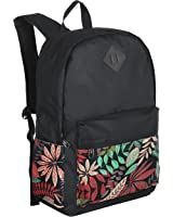 17-Inch Black Polyester College Student Backpack, Travel Casual Daypacks