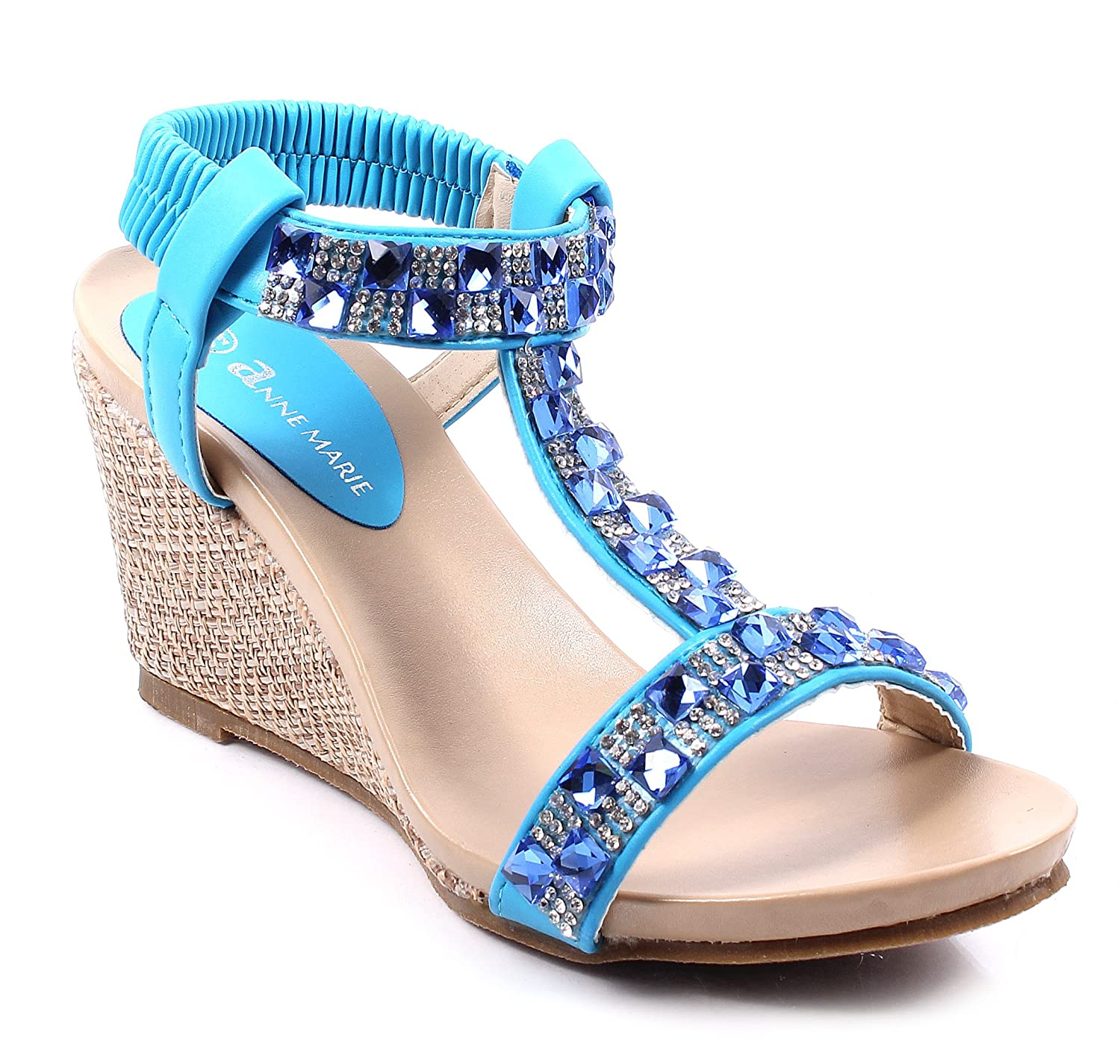 2402e6c729c6 Sexy Rhinestone Slip on Only Ankle Strap Wedges Sandals Pump Platform Womens  High Heels Shoes Without Box Blue Size  6 B (M) US  Amazon.co.uk  Shoes    Bags