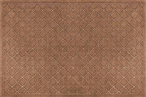 Bungalow Flooring Waterhog Indoor Outdoor Doormat, 3 x 5 , Made in USA, Skid Resistant, Easy to Clean, Catches Water and Debris, Cordova Collection, Dark Brown