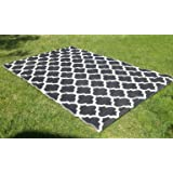 Santa Barbara Collection 100% Recycled Plastic Outdoor Reversable Area Rug Rugs White Black Trellis san1001blk 5'11 x 9'3 - Made in USA