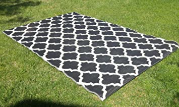 Santa Barbara Collection 100% Recycled Plastic Outdoor Reversable Area Rug  Rugs White Black Trellis San1001blk