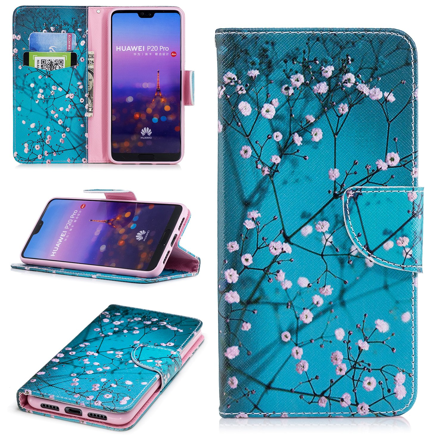 Huawei P20 Pro Wallet case Leather, Luckyandery with Card Slots Kickstand Shockproof PU Leather Wallet Flip Case for Huawei P20 Pro Smartphone #01